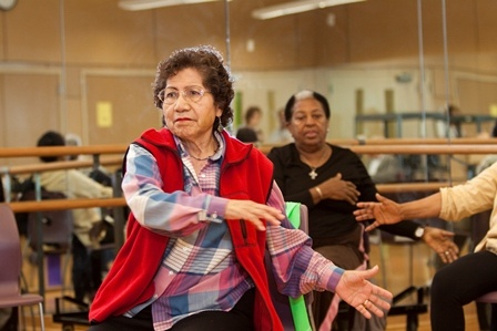 Woman in exercise group class
