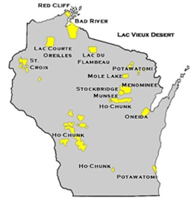 Wisconsin map showing Tribe locations